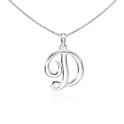 Personalized D letter necklace Letter D Sterling Silver charm necklace Handmade Sterling Silver Jewelry Silver Chain Necklace D Initial
