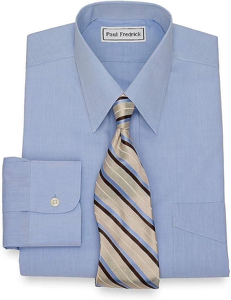 Paul Fredrick Mens Non-Iron 2-Ply Cotton Straight Collar Dress Shirt