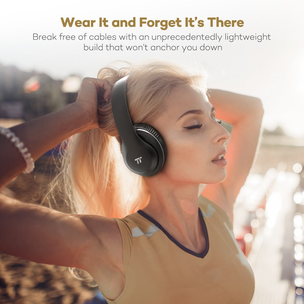 TaoTronics Over Ear Wireless Headset Headphones with Dual 40mm Drivers, 3.5mm AUX, On Ear Controls, EQ Bass by TaoTronics (Image #2)