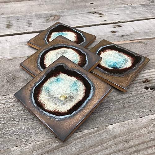 Geode Crackle Coaster Set of 4 in BRONZE: Geode Coaster, Crackle Coaster, Fused Glass Coaster, Crackle Glass Coaster, Agate Coaster, Ceramic Coaster, Dock 6 Pottery Coaster (Studio Crackle)