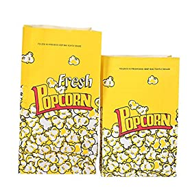 Yellow Popcorn Paper Bags .Great For The Movies, Food Kiosk, Food Stand, Ice Cream Truck And Shop, Street Fairs Etc.11.5″ Height ,3.2″ Width ,6″ Length, (L-100ct)
