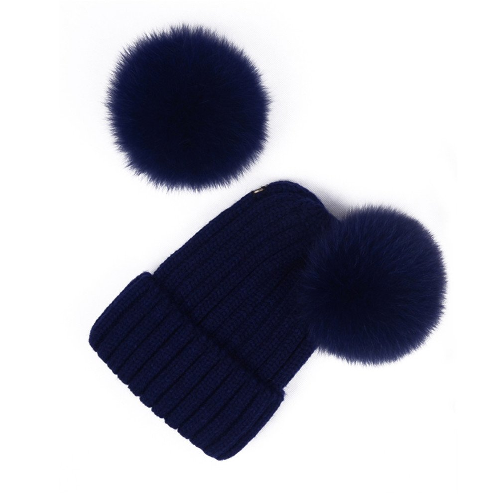 2e45a4affa0 Women s Knitted Double Real Fox Fur Pom Pom Hats Beanie Warm Winter Knit  Ski Snowboard Cap (Navy Blue) at Amazon Women s Clothing store