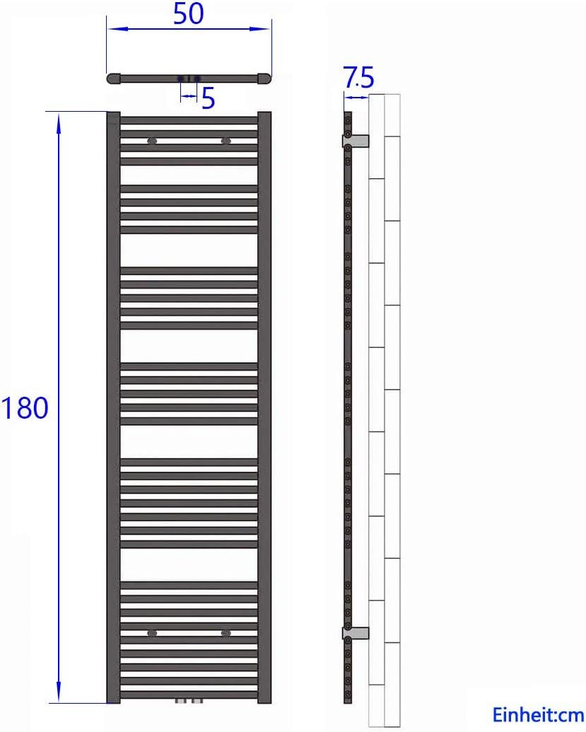 WELMAX Wei/ß Badheizk/örper 60 x 120 cm Handtuchtrockner 679 Watt Leistung Heizk/örper Bad Mittelanschluss Handtuchheizk/örper