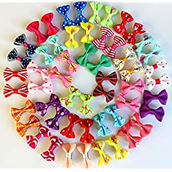Yagopet 40pcs/20pairs New Dog Hair Clips Small Bowknot Pet Grooming Products Mix Colors Varies Patterns Pet Hair Bows Dog Accessories