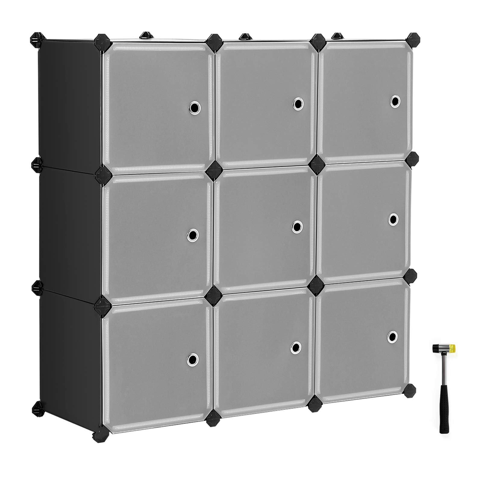 SONGMICS Cube Storage Organizer, 9-Cube DIY Plastic Closet Cabinet, Modular Bookcase, Storage Shelving with Doors for Bedroom, Living Room, Office, 36.6 L x 12.2 W x 36.6 H Inches Black ULPC33HV1 by SONGMICS