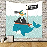 Polyester Tapestry Wall Hanging,Kids,Ahoy Whale with a Pirate Hat Bird Binoculars Zig Zag