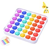 Push Pop Bubble Fidget Toy, CAMFUN Dimple Popping Sensory Toy for Autism Kids Teens Adults to Reliever Stress ( Square Rainbo