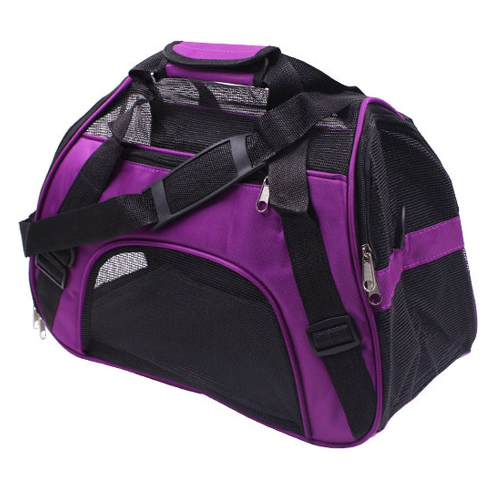 Purple L Purple L Belingeya Pet Purse Carrier Bag for Dogs or Cats, Locking Safety Zippers, Airline Approved, Perfect for Airplane, Train, and Car Travel Handbag Shoulder Bag
