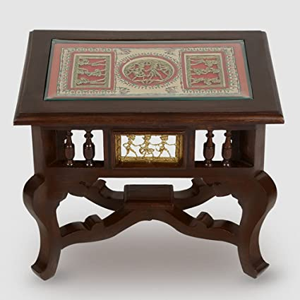 ExclusiveLane Warli U0026 Dhokra Work Teak Wood Baby Side Table  Bedside Table  Coffee Table Wooden