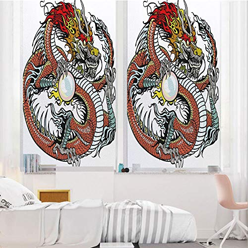 Dragon 3D No Glue Static Decorative Privacy Window Films, Traditional Chinese Creature - 24 Bathroom Mirrors Oval Inch Pearl