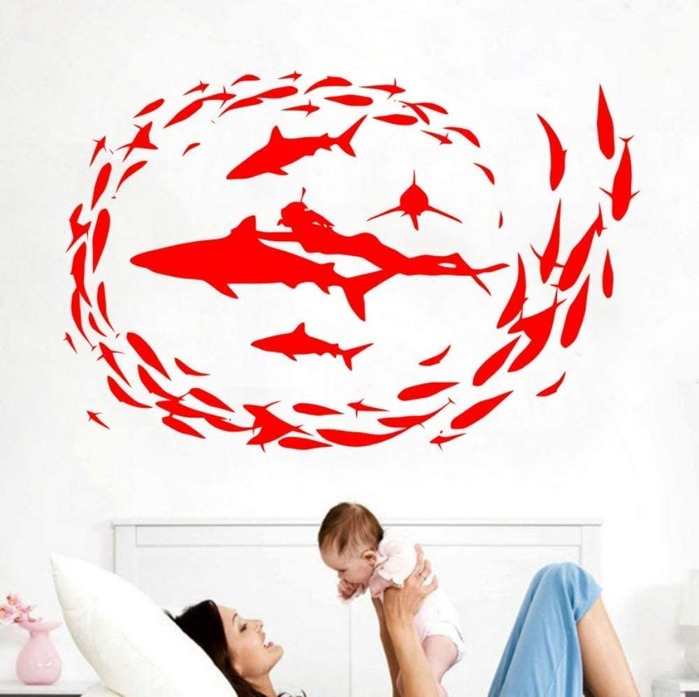 Learning Diver Diving Fish Sea Shark Vinyl Wall Stickers Living Room Bedroom Home Decorative Wall Art Decals
