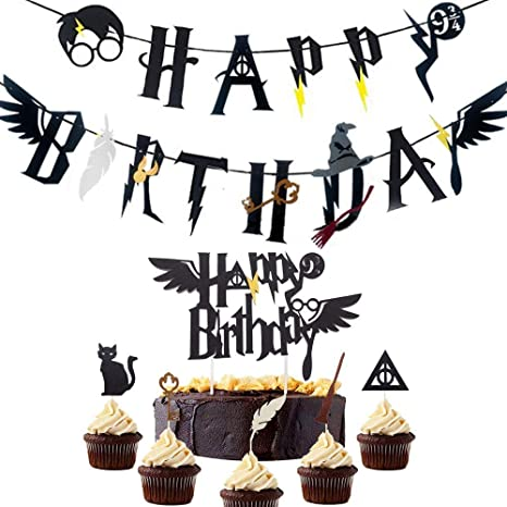 Jevenis Magician Happy Birthday Banner Wizard Birthday Party Supplies Amazon De Spielzeug