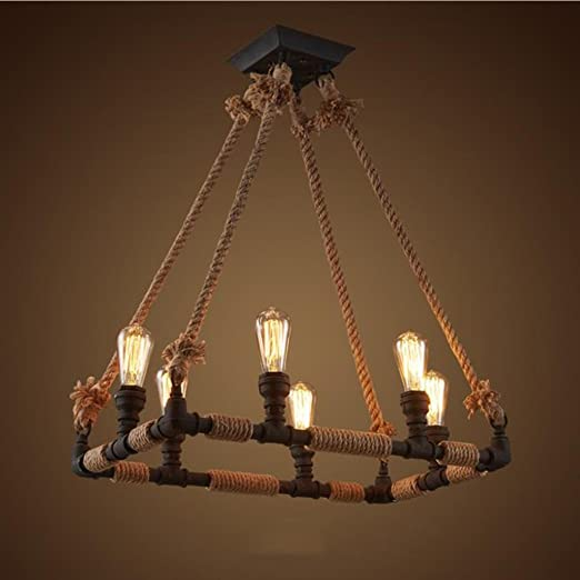 STAGE LIGHTING 4 Lights / 6 Lights Water Pipes Hemp Rope Chandelier/ Coffee  Shop Bar