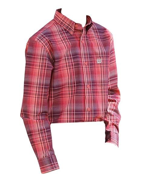 Cinch Apparel Boys Boys Button Up Long Sleeve Shirt M//10 Burgundy