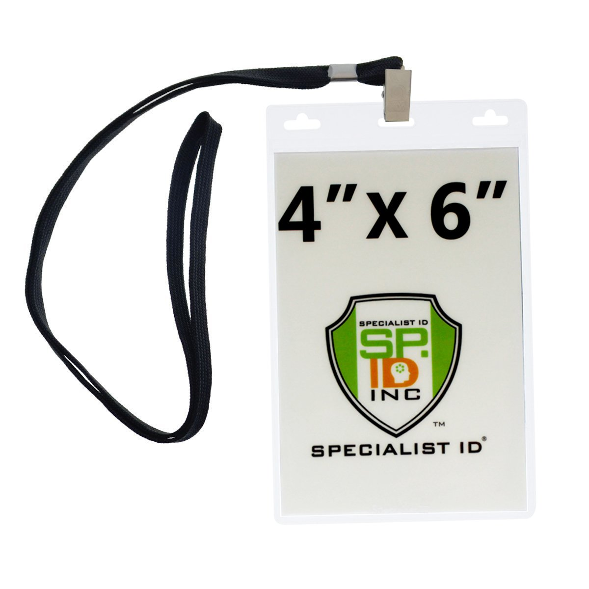 4X6 Inch Extra Large Badge & Credential Holders (Pack of 10) with Lanyards by Specialist ID (Black)