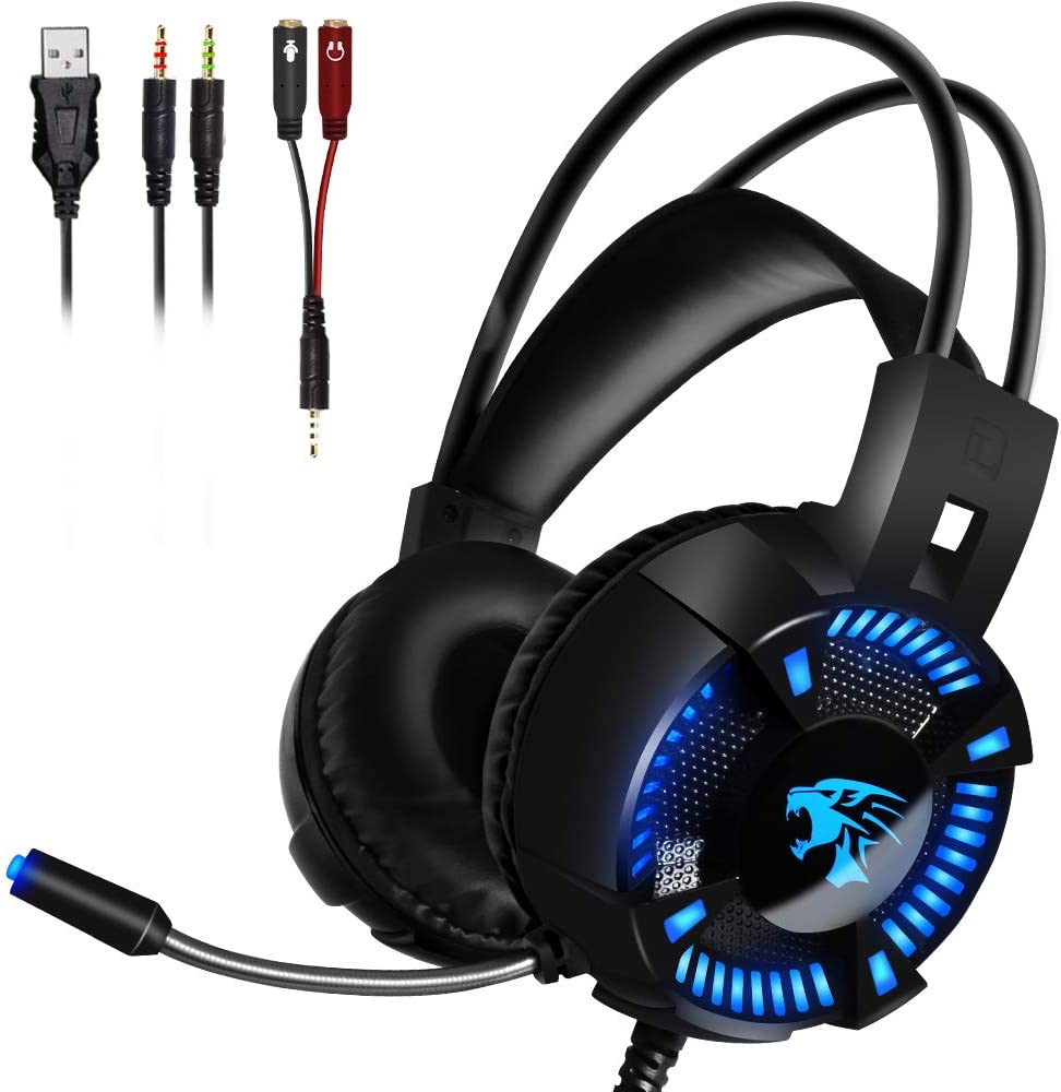 LETOUR Gaming Headset with 50mm Drivers, 3D Surround Sound Gaming Headset with Noise Cancelling Mic & in-Line Control, Over-Ear Soft Memory Earmuff, LED Light, Compatible with PC/PS4/Xbox One/Switch