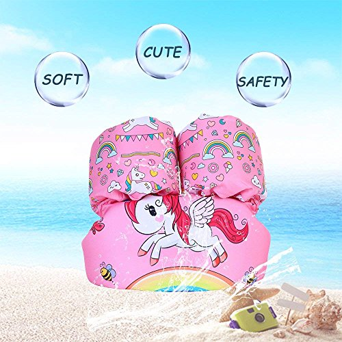 , Toddler Life Jacket, Kids Swim Vest, for Baby, Kid and Children to Swim Safely 30-50 lbs (Pink Unicorn) ()
