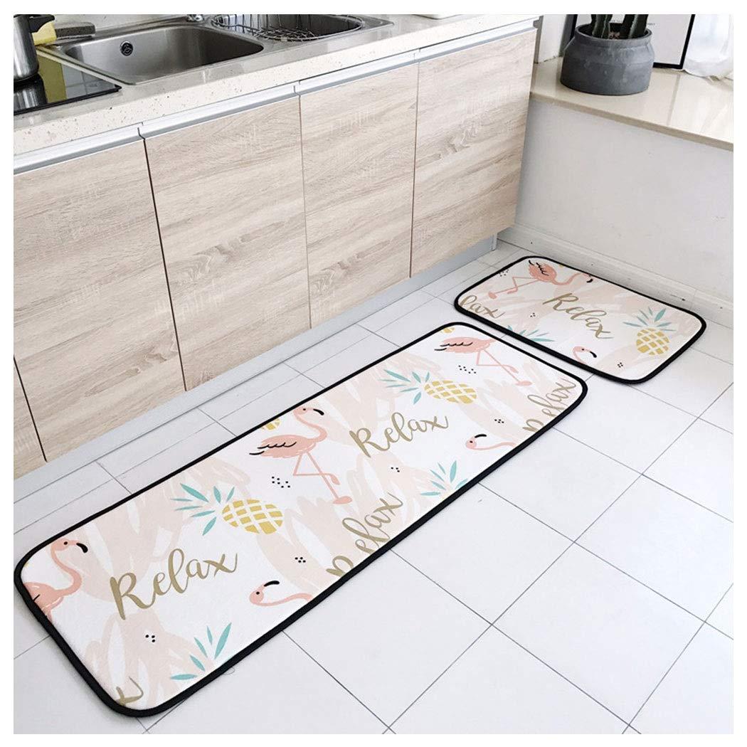 AXIANQIMat Bathroom Absorbent Non-Slip Feet Tropical Pine Bird Carpet Polyester Floor Mat Kitchen Barrier Mats170cm (Color : White, Size : 50150cm)