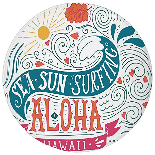 2.95 Ft Round Bathroom Rug,Hawaiian,Sea Sun Surfing Typography with Ocean Waves Aloha Tropical Print Decorative,Petrol Blue Orange Pink,Flannel Microfiber Non-slip Soft Absorbent Kitchen Floor Bath Ma (Aloha Flannel)