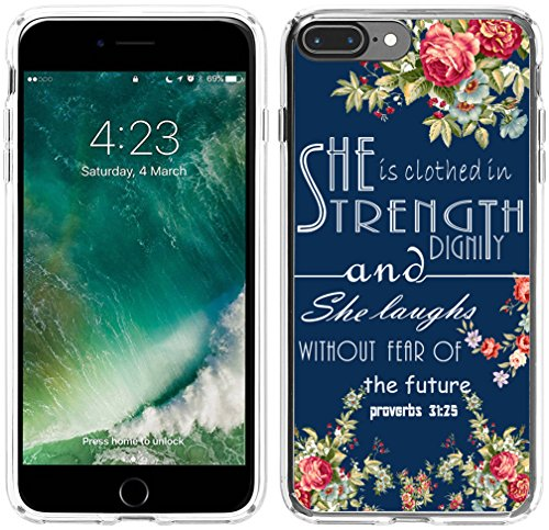 Case For Iphone 8 Plus Christian Quotes,Case For Iphone 7 Plus Bible Verses for Girls,Hungo Compatible Protective Cover For Iphone 7 Plus/8 Plus She Is Clothed With Strength and Dignity Proverbs