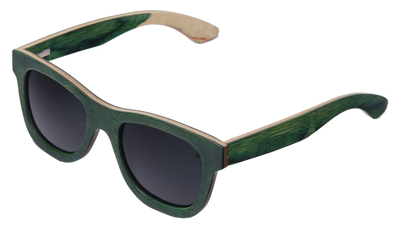 UNISEX (Damen Heren) Holz Sonnenbrille Polarisiert Vintage Retro Brille UV400 Protection Morefaz(TM) (Green Wood)