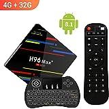 【2018 TV BOX 4GB + 32GB】 H96 MAX+ Android 8.1 TV Box 4G + 32G RK3328 Quad-Core 64bit Cortex-A53 Smart Set-top box,Support 2.4G Wifi /3D/4k/USB3.0 /Tastiera retroilluminata wireless