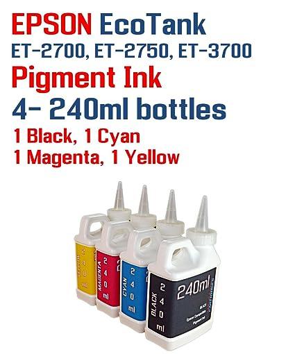 Pigment Ink 4 Multi Color 240ml bottles - EcoTank ET-2700, ET-2750, ET-3700  printers