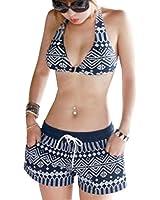 Women's Printed Halter Push Up High Waist Board Shorts Bikinis Set Swimwear