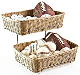 Set of Two 2-tier Racks for Counters with 2 Plastic Wicker Baskets Each
