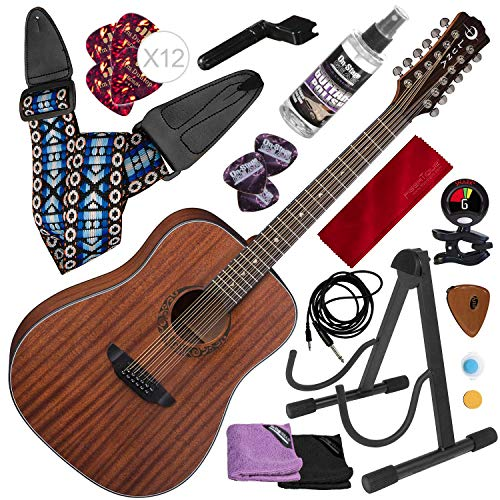 Luna Gypsy Dreadnought 12-String Mahogany Acoustic Guitar with KNA AP-1 Portable Piezo Pickup and Platinum Bundle ()