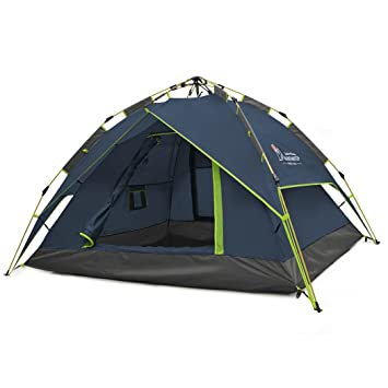 ddfa3d704ea Mountaintop Automatic Pop Up Tent Backpacking Tents for Outdoor Sports Camping  Hiking Travel Beach with Carrying Bag for 2 or 3 Person (Dark Blue)  ...