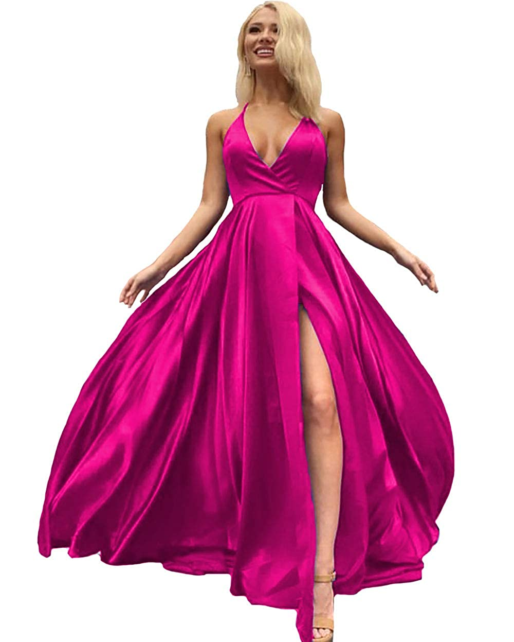 Hot Pink IVYPRECIOUS V Neck Side Split Prom Dresses A Line Long Evening Gowns for Women
