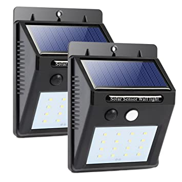 16 LED Solar Lights Wireless Outdoor Light with Motion Activated Auto On/Off for Patio, Deck, Yard, Garden, 2 Pack