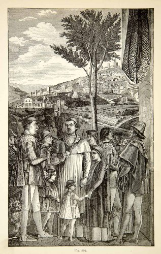 1888 Print Gonzaga Family Andrea Mantegna Cityscape Figures Royalty Religious - Relief Line-block Print from PeriodPaper LLC-Collectible Original Print Archive
