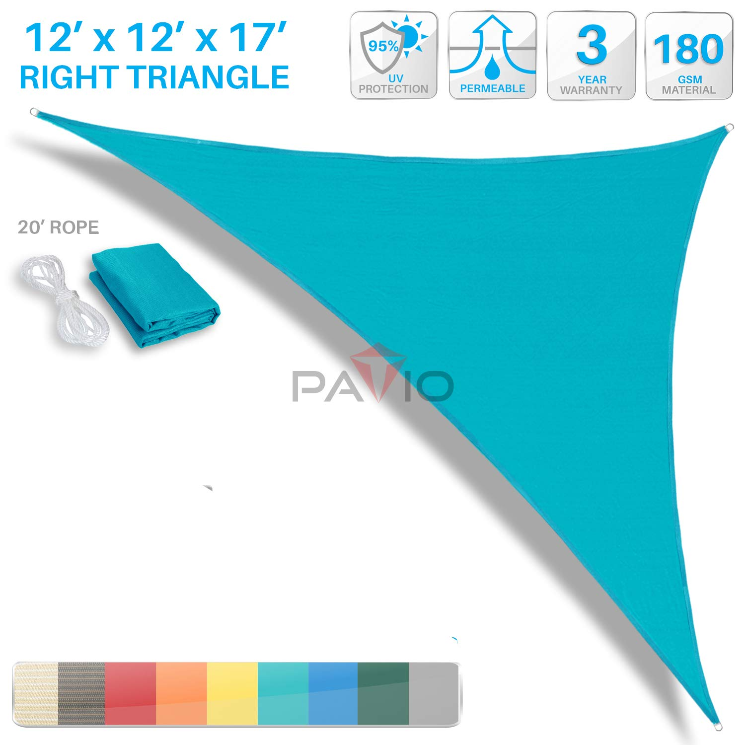 Patio Paradise 12' x 12' x 17' Turquoise Green Sun Shade Sail Right Triangle Canopy - Permeable UV Block Fabric Durable Outdoor - Customized Available