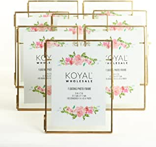 Amazon Com Koyal Wholesale 8 Pack Pressed Glass Floating Photo Frames 5 X 7 With Gold Stands