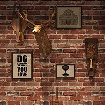 Okydoky Removable Rustic Red Brick Wallpaper Non Stick Livingroom