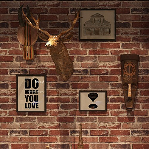 Okydoky Removable Rustic Red Brick Wallpaper,Non Stick, Livingroom Bedroom Kitchen Background No.57104