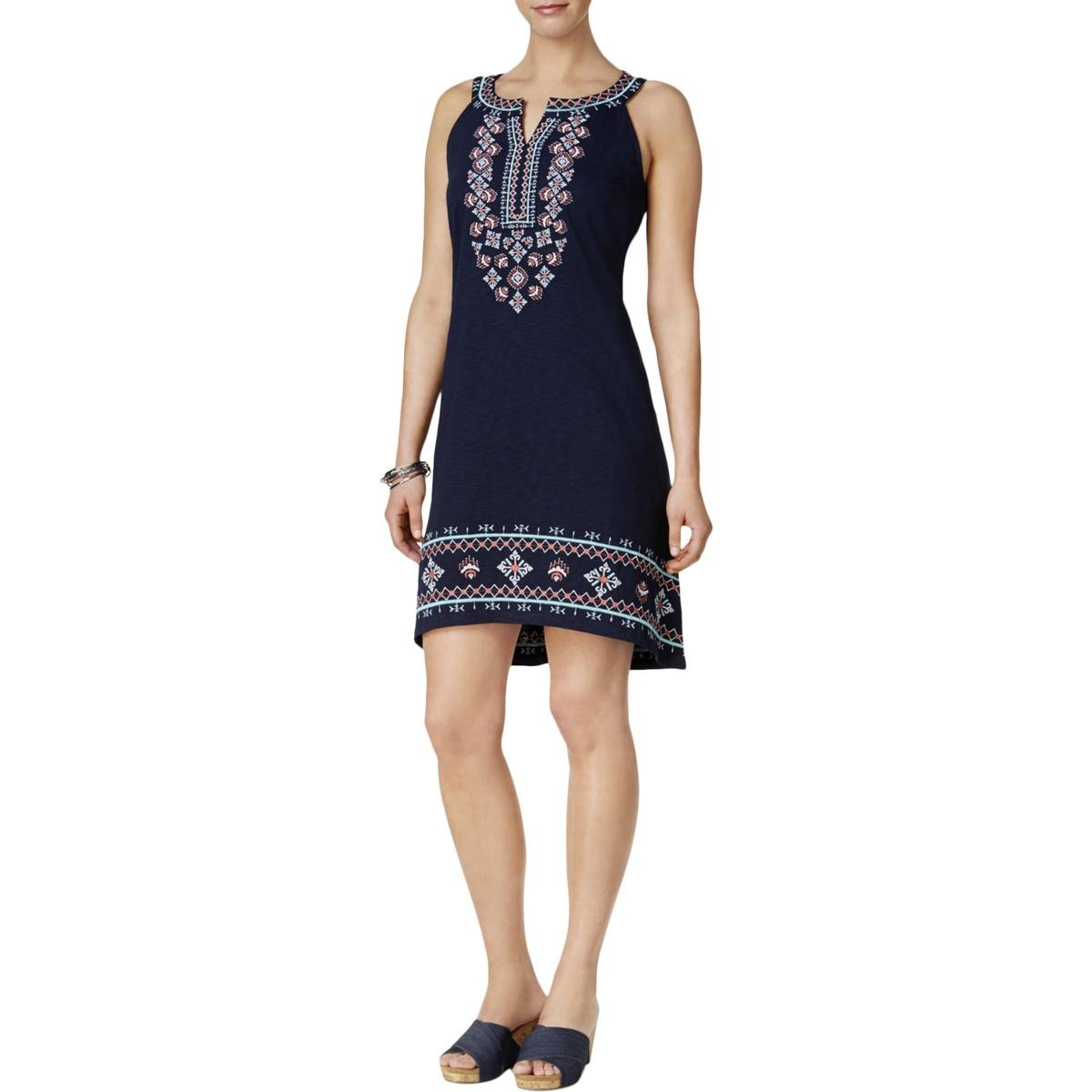 Style & Co.. Womens Petites Sleeveless Embroidered Casual Dress Navy PXL