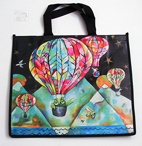 Allen Designs Hot Air Balloon Shopper Bag 16x18x7 inches