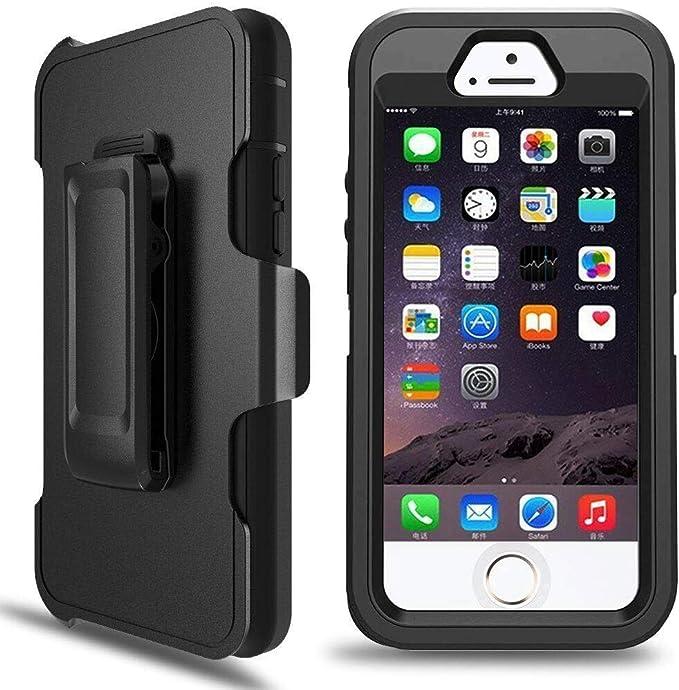 iPhone 5S case, heavy duty telefono custodia ibrida Dual Layer Combo Armor Defender custodia protettiva con cavalletto, clip per cintura