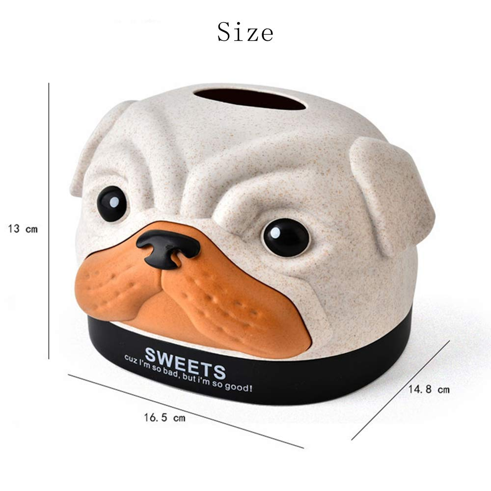 Cratone Taschentuchbox-Halter Bobby Hund-Tuchbox quadratisch Taschentuchspender Papiertuchspender f/ür Badezimmer Schminktisch