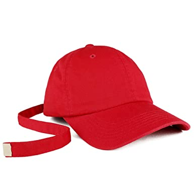 Long Tail Strap Unstructured Adjustable Dad Hat - RED  Amazon.in  Clothing    Accessories 6e65c8ae2d21