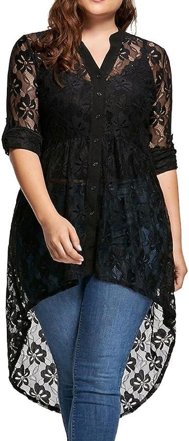 Blusa Tallas Grandes Mujer, Covermason Blusa de Mujer Talla Grande Camisa de Manga Larga de Encaje Botón de Perspectiva Arriba Mujer Tops: Amazon.es: Ropa y accesorios