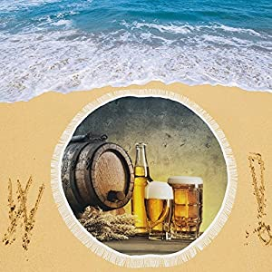 """your-fantasia Barrel and the Beer Glasses on the Table Circular Beach Picnic Camping Beach Shawl Outdoor 59""""x 59"""""""