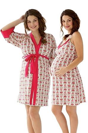 d6e74d747e Belabumbum Padma 2-Piece Maternity   Nursing Chemise   Robe Set - S at Amazon  Women s Clothing store