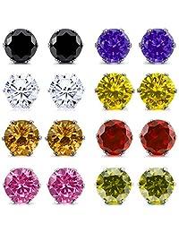 INBLUE Women's 3~10mm 16 PCS Stainless Steel Stud Earrings CZ Silver Tone Multicolor Color Royal King Crown Set ( 8 Pairs )