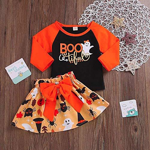 Babys First Halloween Costume,Toddler Baby Girls Patchwork Tops Pumpkin Cartoon Skirt Halloween Bowknot Sets,Black,90 -