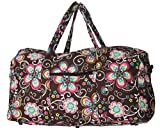 quilted fabric bags - Bohemian Prints Quilted Large 22 inch Duffle Bag (Flowers- Brown)