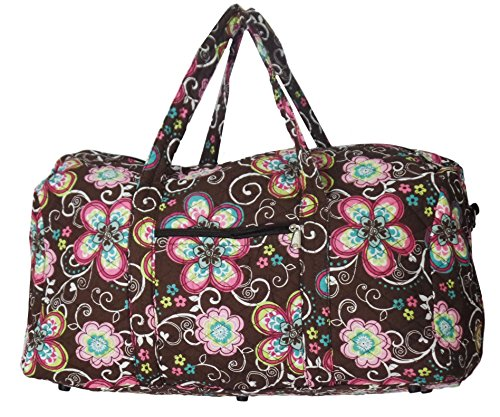 Bohemian Prints Quilted Large 22 inch Duffle Bag (Flowers- Brown)
